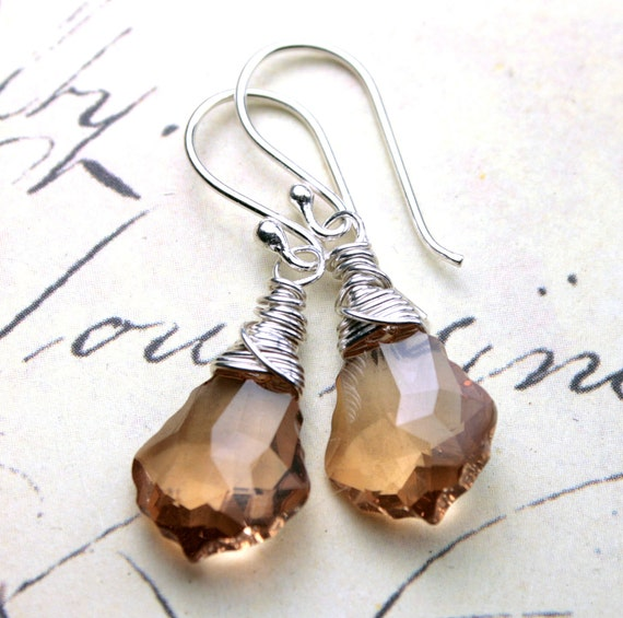 Caramel Crystal Earrings - Swarovski Crystal Baroque Earrings in Colorado Topaz -  Wire Wrapped with Sterling Silver - Free Shipping