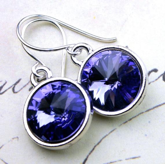 Tanzanite Purple Swarovski Crystal Rivoli Earrings - Handmade with Swarovski  Crystal and Sterling Silver - Free US Shipping