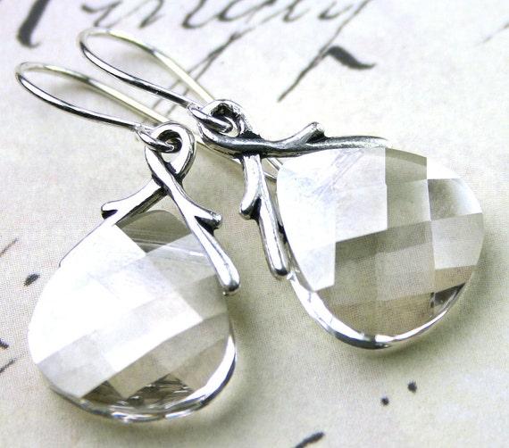 ON SALE - Swarovski Briolette Crystal Earrings  With Silver Crystals - Handmade with Swarovski Crystal and Sterling Silver