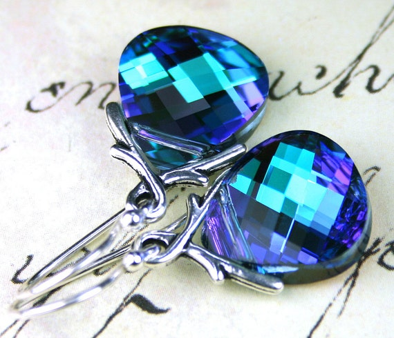 Aqua And Purple Briolette Earrings - Swarovski Crystal And Sterling Silver Earwires - Ivy Vine Bails and Flat Briolettes