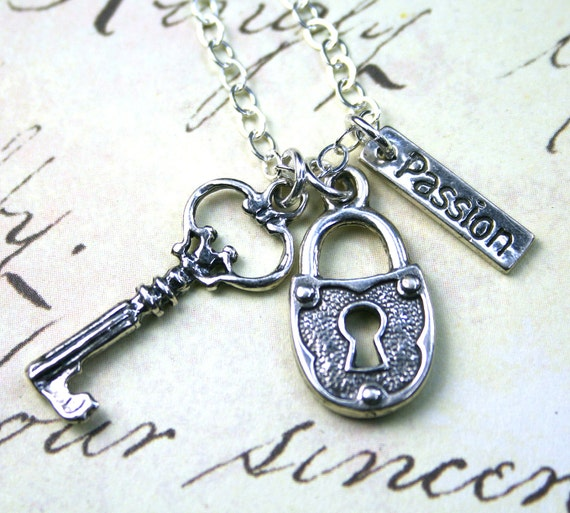 Key Necklace - Passion is the Key to Life Charm Necklace - Handmade with Sterling Silver