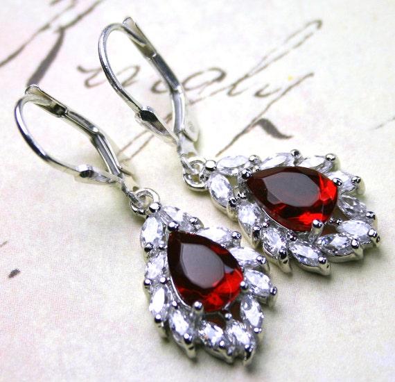 Vintage Scarlet Teardrop Earrings - Estate Style Rhinestone Earrings - Sterling Silver Leverbacksand Crystal - Free Shipping
