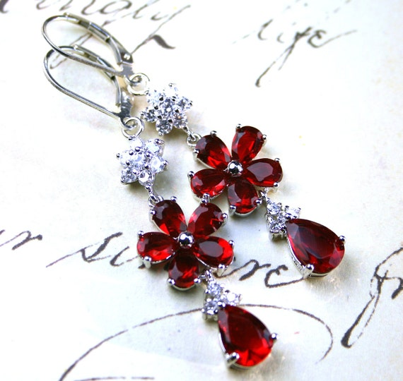 Sale - Long Jeweled Scarlet Red Crystal Earrings - Sterling Silver Leverbacks - Free Shipping