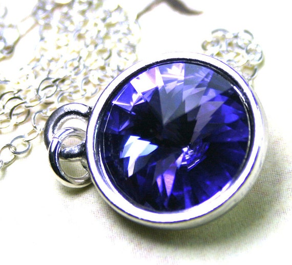 Swarovski Rivoli Crystal Necklace in Purple Tanzanite- Handmade with Swarovski Crystal and Sterling Silver - Free Shipping