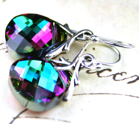 Swarovski Crystal Briolette Earrings Green and Pink - Electra - Sterling Silver - FREE SHIPPING