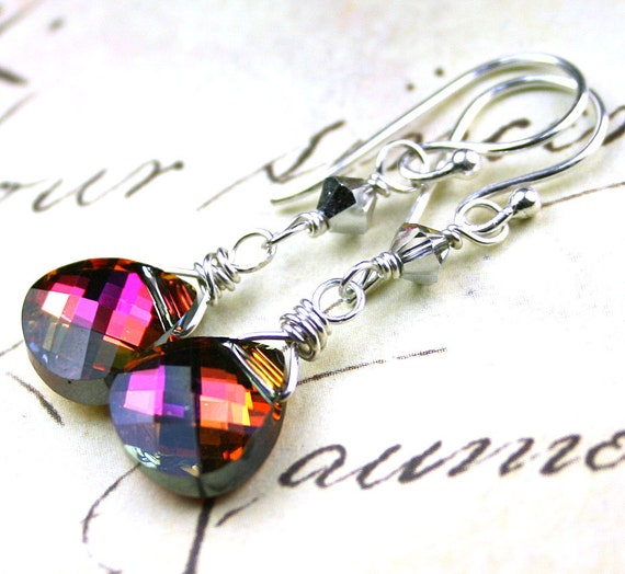SALE - Long Swarovski Briolette Crystal Earrings in Volcano - Handmade with Swarovski Crystal and Sterling Silver - FREE SHIPPING