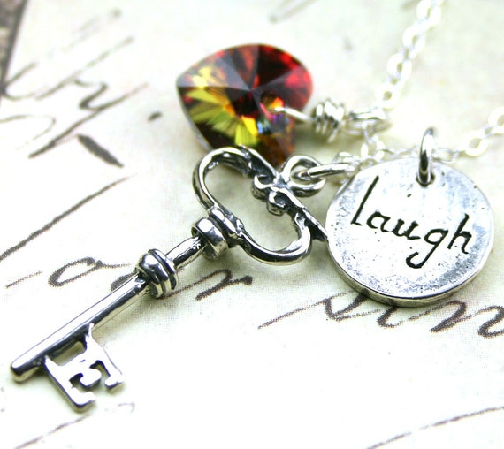 Laughter is the Key to Life Charm Necklace in Volcano - Sterling Silver and Swarovski Crystal