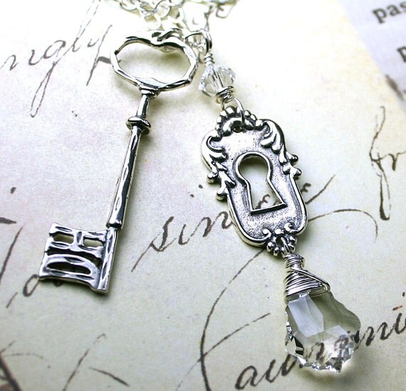 Vintage Lock and Key Necklace - All sterling Silver and Swarovski Crystal
