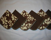 Brown Damask or Floral Flannel Napkins and/or Unpaper Towels, Single Layer Set of 6
