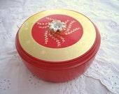 Red and Gold Round Glass Powder Box , Vintage Avon
