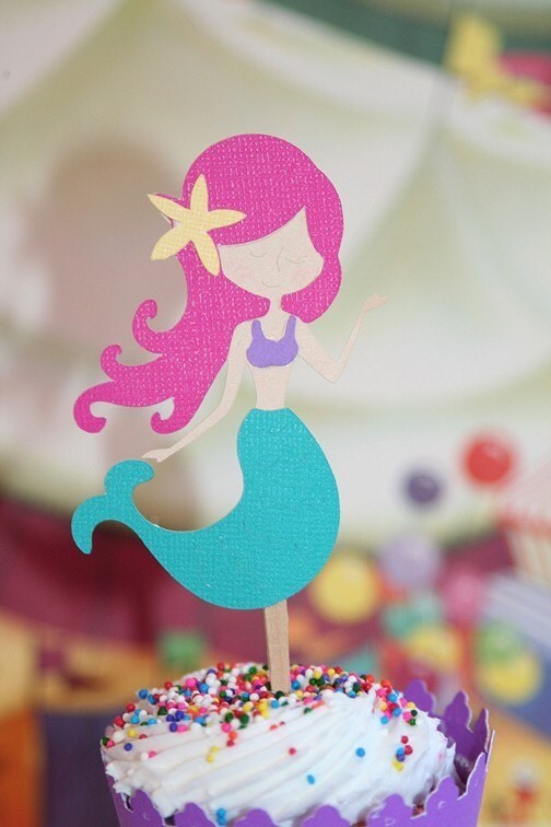 Mermaid Cupcake Toppers Rainbow Mermaids Birthday Party Set Of