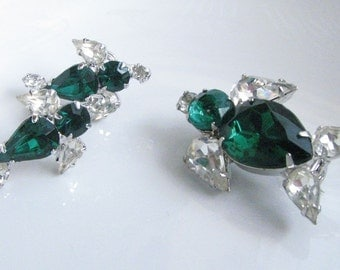 Vintage Ducks Brooch and Earrings 1950s Green and Clear Glass Rhinestone