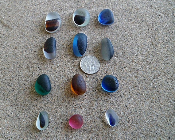 12 very rare Victorian English sea glass multis 4 groups of three allowing for the design of various projects