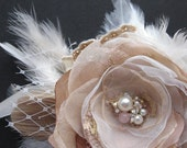 RESERVED Vintage Rustic Wedding hairpiece bridal fascinator rose flower lace Hair clip Ivory Pale Beige blush pink gold lace pearl