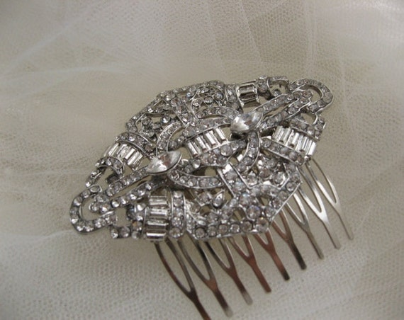 Art Nouveau Romance Wedding bridal hair accessory hairpiece Rhinestone haircomb Art deco glamorous bridal fascinator vintage