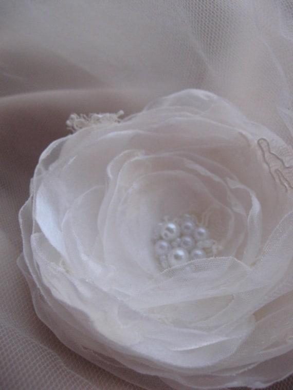 SALE Ivory bridal flower wedding pearl Hair piece hair pin lace flower Ivory  bridal, bride 3 inch accessory