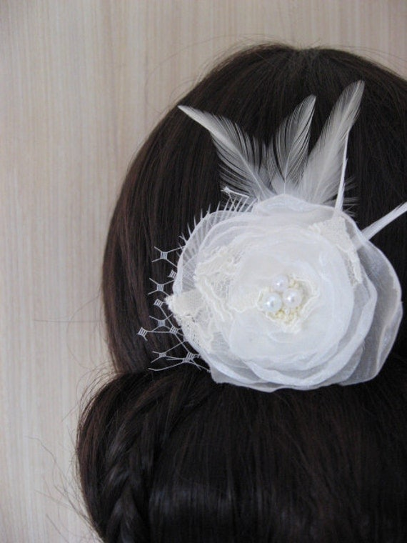 Ivory bridal flower wedding pearl hair clip mini 2 inch Bridal Ivory organza lace flower Rose  feathers french / russian tulle veil