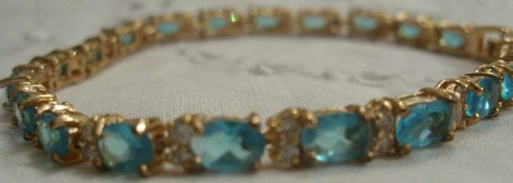Victorian style, blue paste and crystal bracelet 18k gold plated