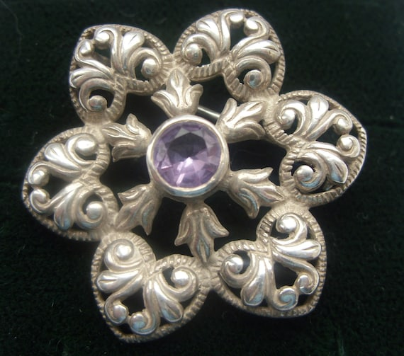 Stunning - Medieval style - Sterling Silver and Amethyst flower brooch - pin