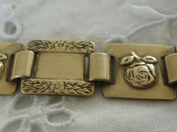 Vintage - Rose Panel - Gold plated bracelet - c1950s
