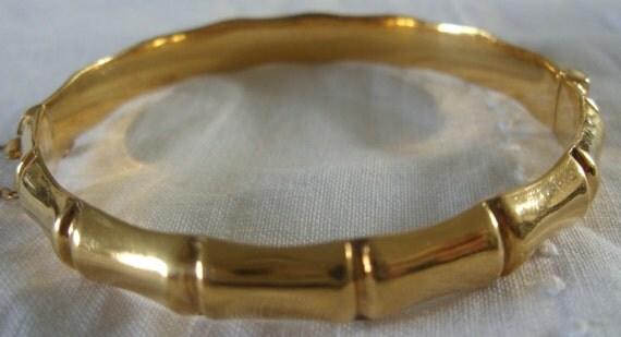 Vintage Rolled Gold Bamboo Bangle Bracelet c1960s