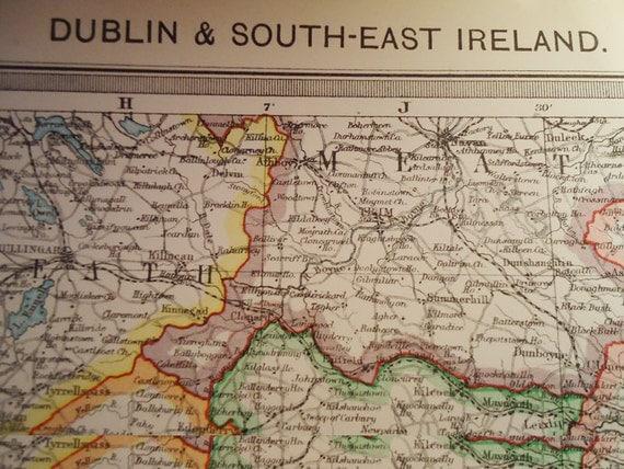 Dublin and South East Ireland Map. Coloured.1909
