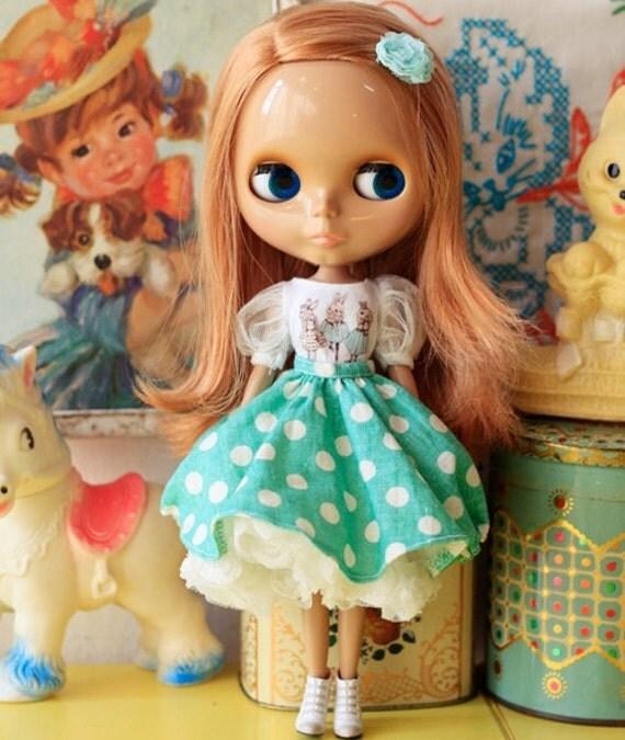 Sugarbabylove - Mint dot set for Blythe (3pieces set)