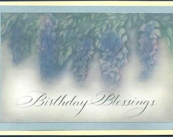 Birthday Card, watercolor wisteria