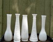 Milk Glass Bud Vase - Set of 5