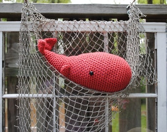 Woolie Whale Hand Crocheted Plush-Nantucket Red-Large