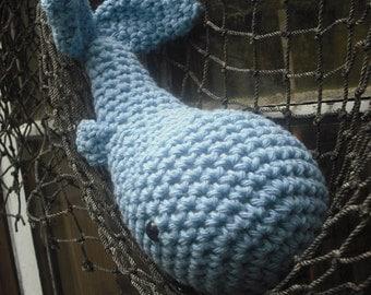 Woolie Whale Hand Crocheted Plush- Nantucket Blue -Mini