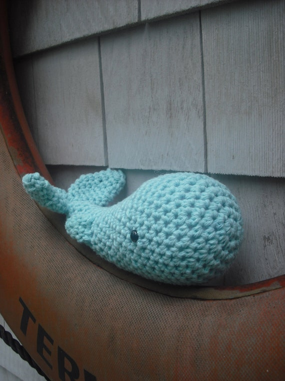 Woolie Whale Hand Crocheted Plush- Turquoise -Mini