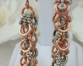 Shaggy Chainmaille Chain Mail Earrings Copper with Antique Silver Plated Rodelles