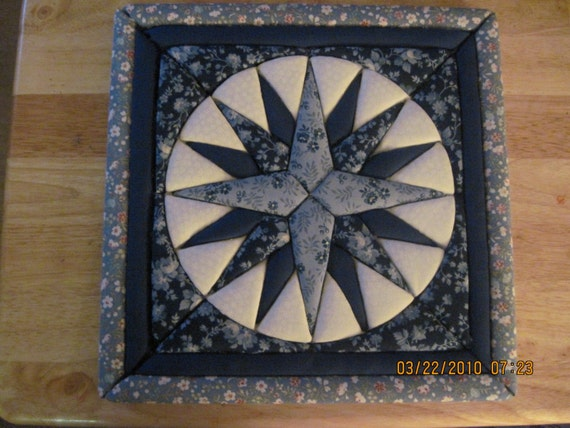 Blue Mariner's Compass No Sew Quilted Wall Hanging