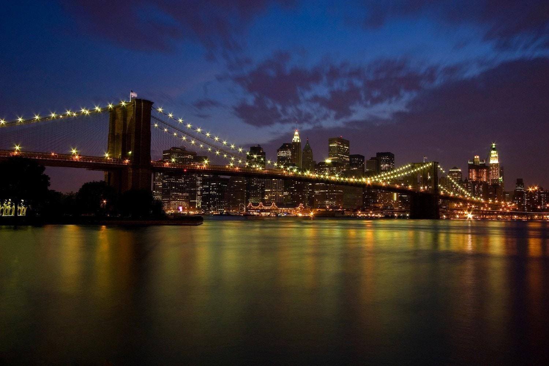 Brooklyn Bridge At Night New York City Travel Photography