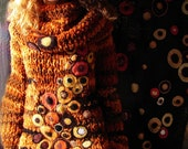 Klimt inspired brown tones big and soft sweater