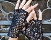 Cotton Fingerless Gloves - Black  Fingerless Gloves - Fashion Gloves - Fall Fingerless- Black Retro Gloves - Fall Fashion nO 4.