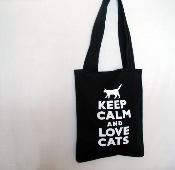 Black Tote Bag Black Tote Bag With Cat Print