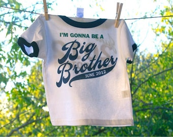 I'm Gonna Be A Big Brother Ringer Tee // Big Brother Announcement // Custom Tshirt
