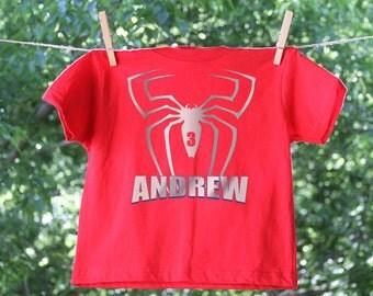 Personalized Spider Superhero Birthday Shirt - short sleeve