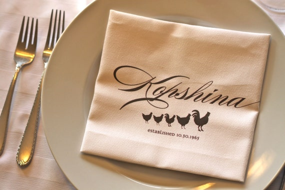 Family Dinner Napkins with Personalization - set of 4