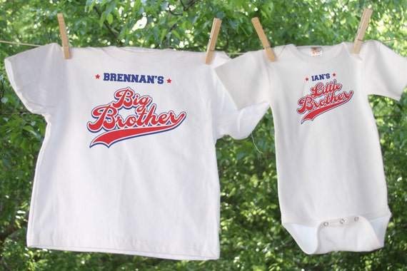 Little Brother & Big Brother Sporty Tees Personalized with Names - Set of 2 - 2-sided