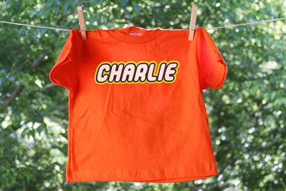 Toy Building Blocks Inspired Name Short Sleeve shirt // 2 sided // Personalized