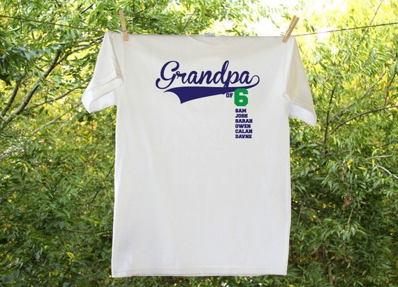 Grandpa Papa Pops Grandad of Number & Names of Grandchildren Shirt