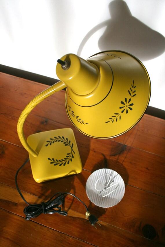 Mustard Yellow Ochre Gooseneck Desk Lamp with Black Laurel Wreath Stencil Pattern