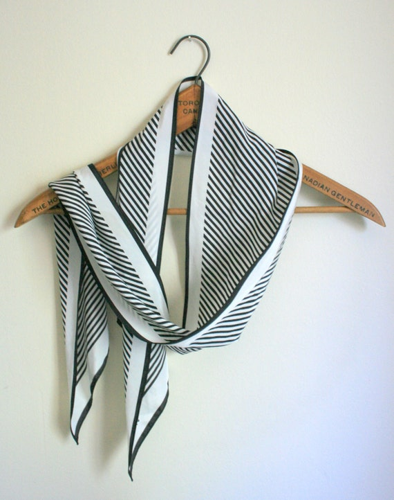 Vera Scarf Necktie Long Black and White Stripe