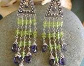 Chandelier Earrings,Long Chandelier Earrings,Sterling Silver,Peridot,Iolite,Wire Wrapped Chandelier Earrings,Heart Chakra,Birthstone,Natural