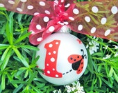 Baby's First Birthday Ornament - Personalized LadyBug Ornament- Handpainted for Birthday or Christmas,  Ladybug Party, Ladybug Baby Shower