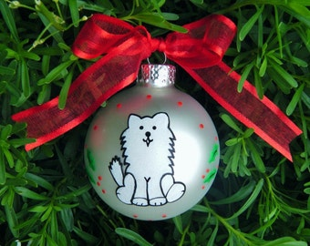 Samoyed Dog Ornament - Personalized Handpainted Glass Ball Ornament - Siberian Husky Ornament - Christmas Bauble for Dog Lover