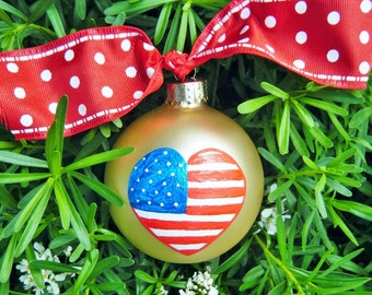 Heart Ornament - US Flag - Personalized Hand painted Flag Ornament, Patriotic Gift for Army, Navy, Air Force, Marines, Gold Christmas Bauble